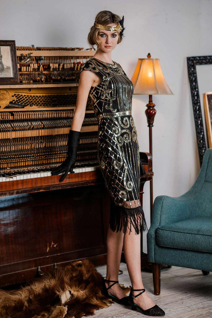 [US Warehouse] Black 1920s Sequined Flapper Dress