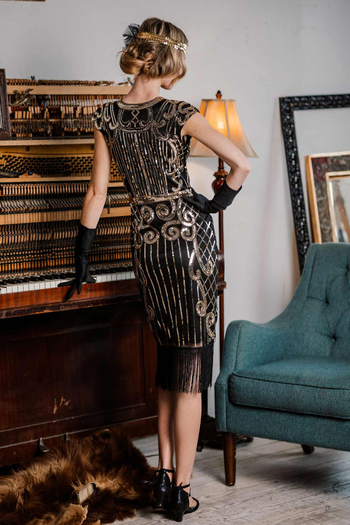 US Only Black 1920s Sequined Flapper Dress