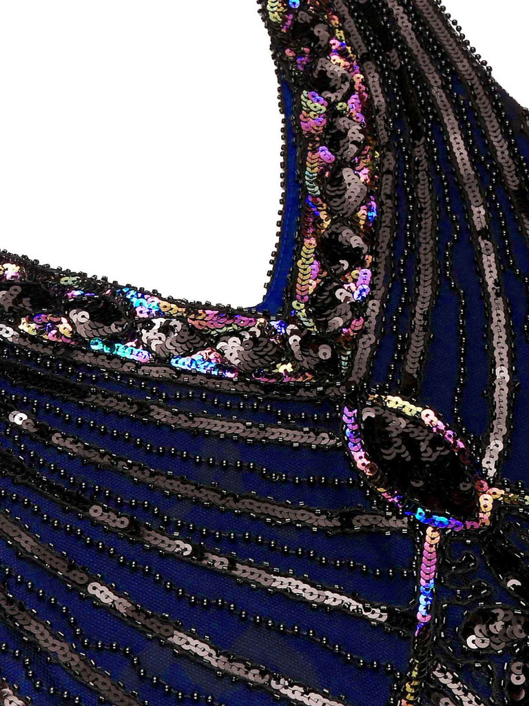 US Only Blue 1920s Sequined Flapper Dress