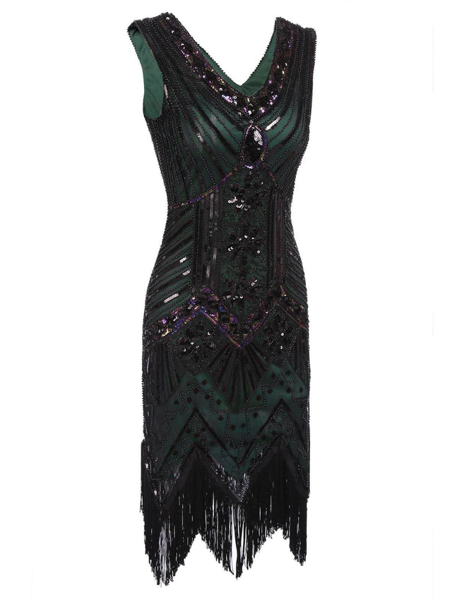 f4fb48ba Dark Green 1920s Sequined Flapper Dress - Retro Stage - Chic Vintage ...