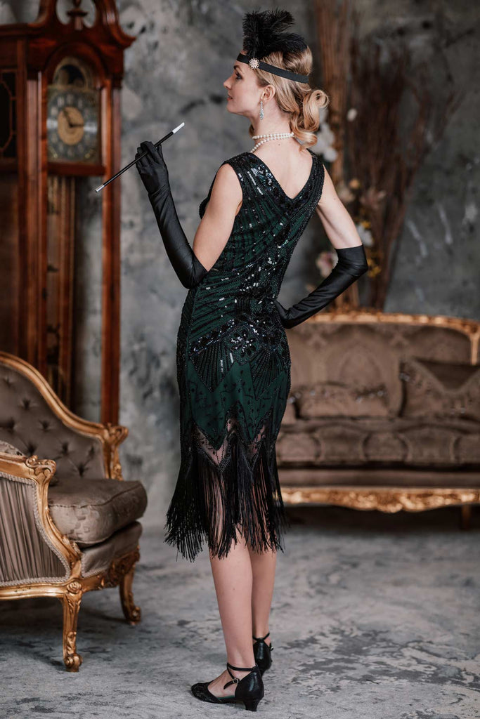 US Only Dark Green 1920s Sequined Flapper Dress