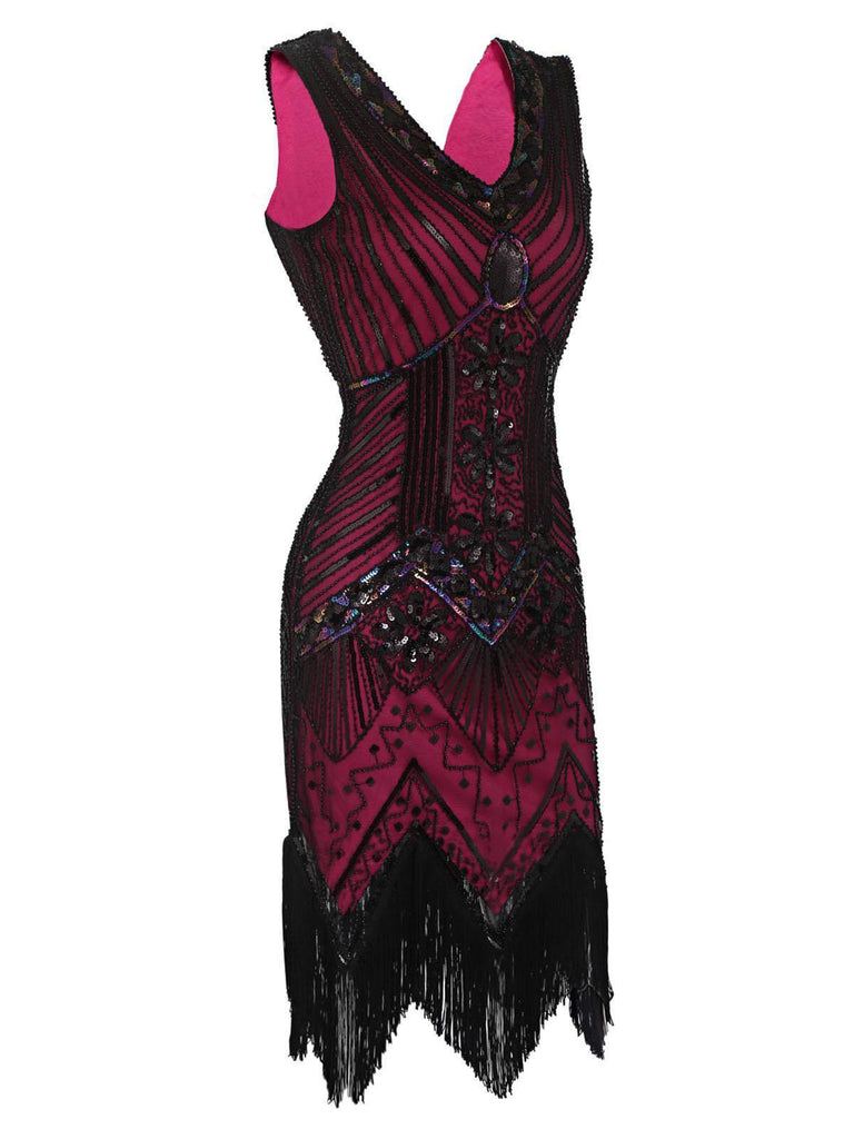 US Only Rose Red 1920s Flapper Sequin Dress