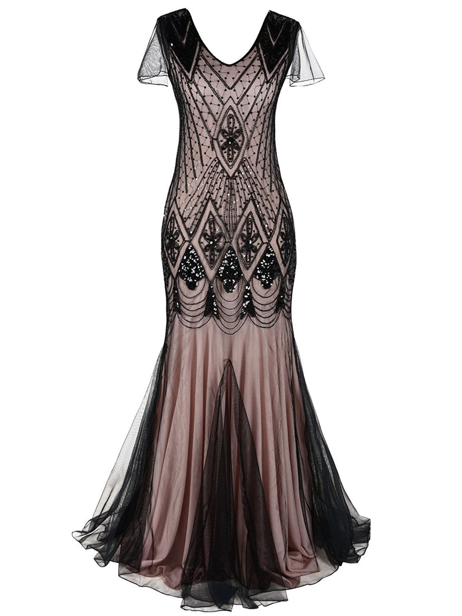 4597afe41ba Pink 1920s Cap Sleeve Sequin Evening Dress – Retro Stage - Chic ...
