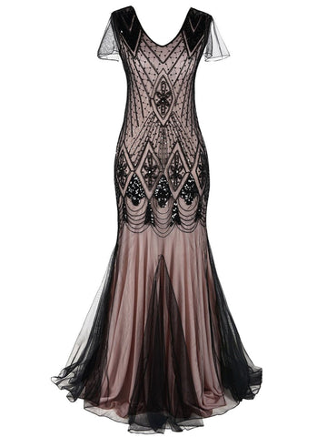 Pink 1920s Cap Sleeve Sequin Evening Dress