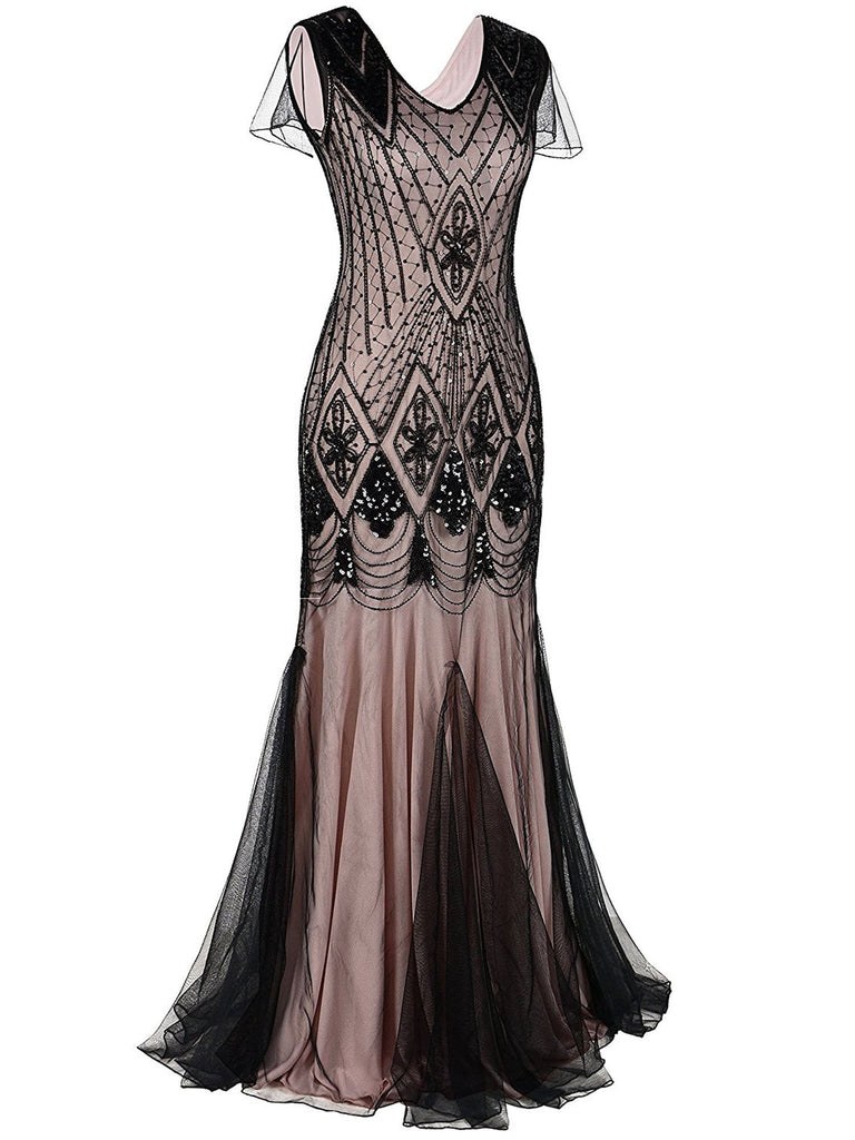 US Only Pink 1920s Cap Sleeve Sequin Evening Dress