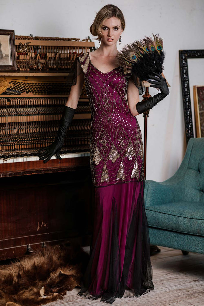 Rose Red 1920s Sequined Maxi Flapper Dress
