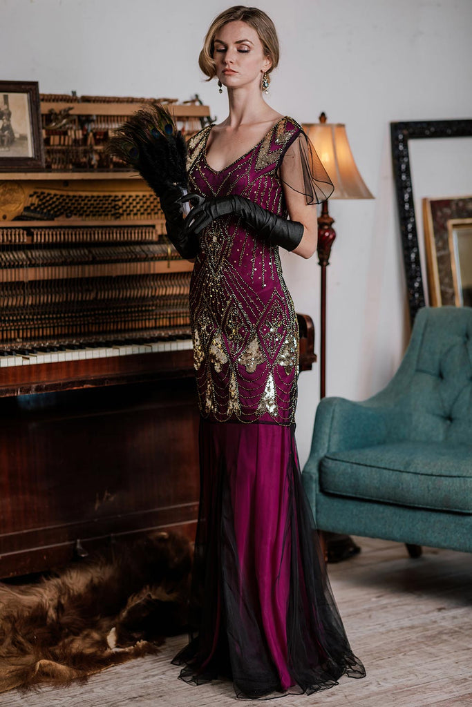 US Only Rose Red 1920s Sequined Maxi Flapper Dress
