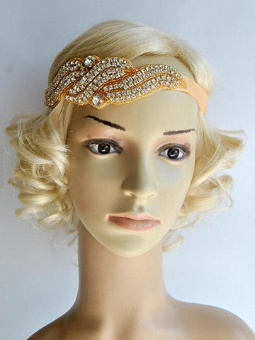Gold 1920s Flapper Headband Headpiece