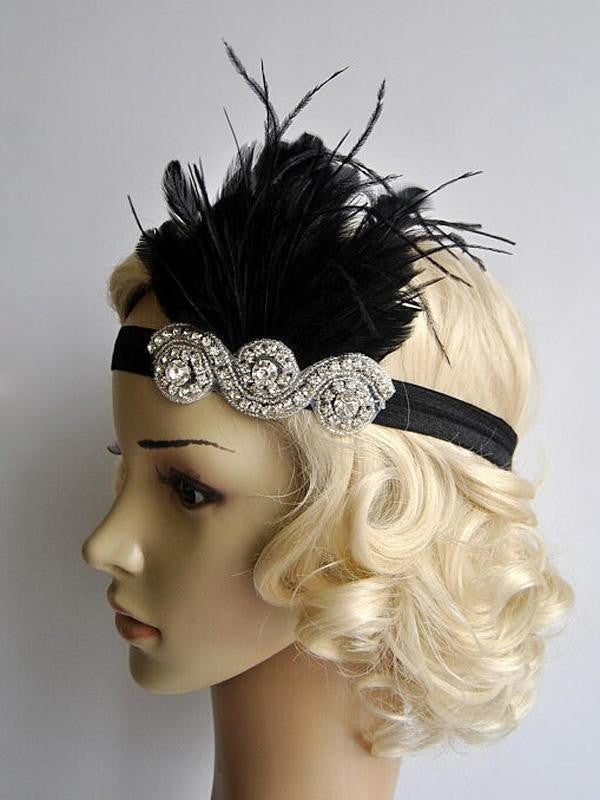 Black 1920s Feather Flapper Headband