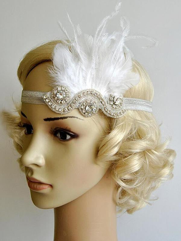 White 1920s Feather Flapper Headband