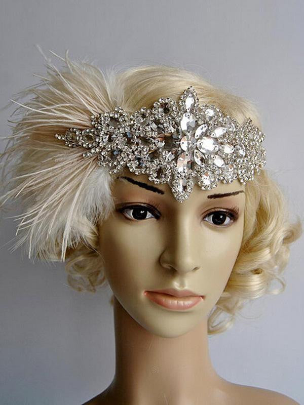 US Only Apricot 1920s Feather Flapper Headband