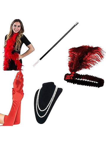 Red 1920s Flapper Costume Set