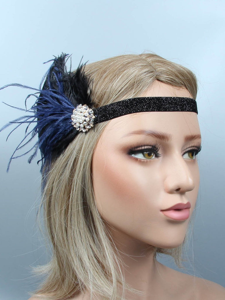 US Only 1920s Feather Flapper Headband