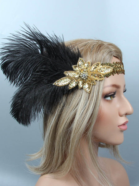 1920s Sequin Feather Flapper Headband Retro Stage Chic