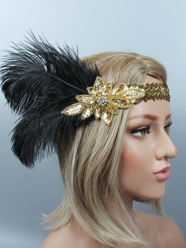 US Only 1920s Sequin Feather Flapper Headband