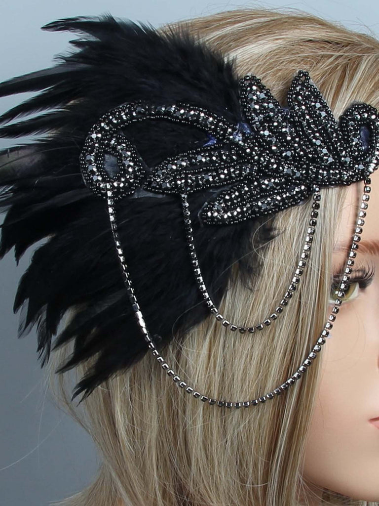 US Only 1920s Feather Flapper Headpiece