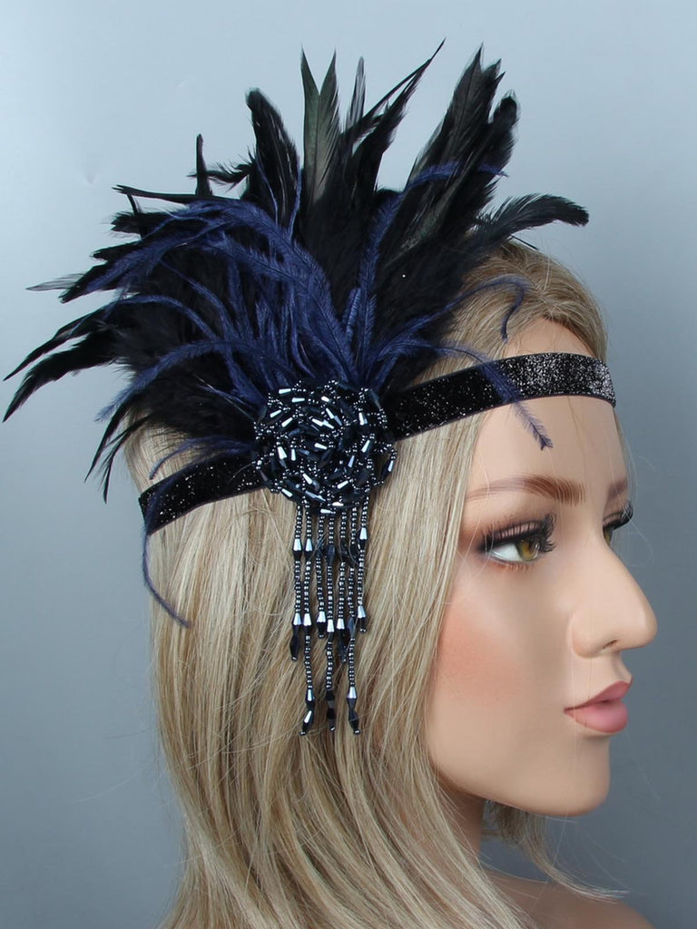 Black Blue 1920s Feather Headband