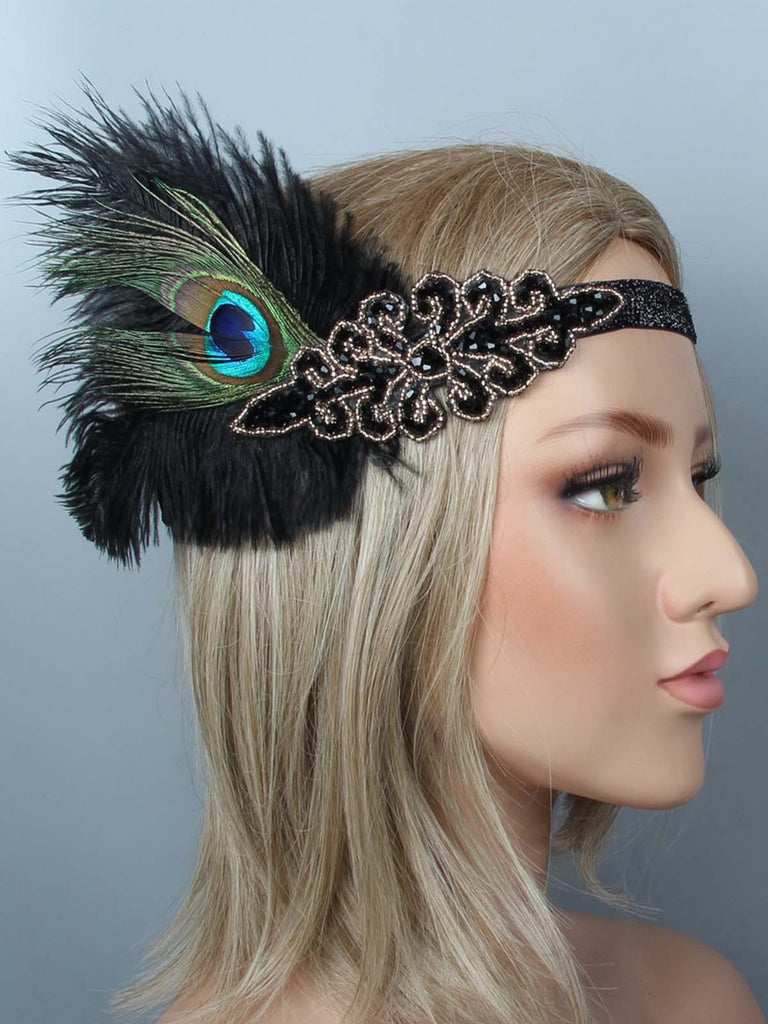 1920s Feather Flapper Headband Headpiece