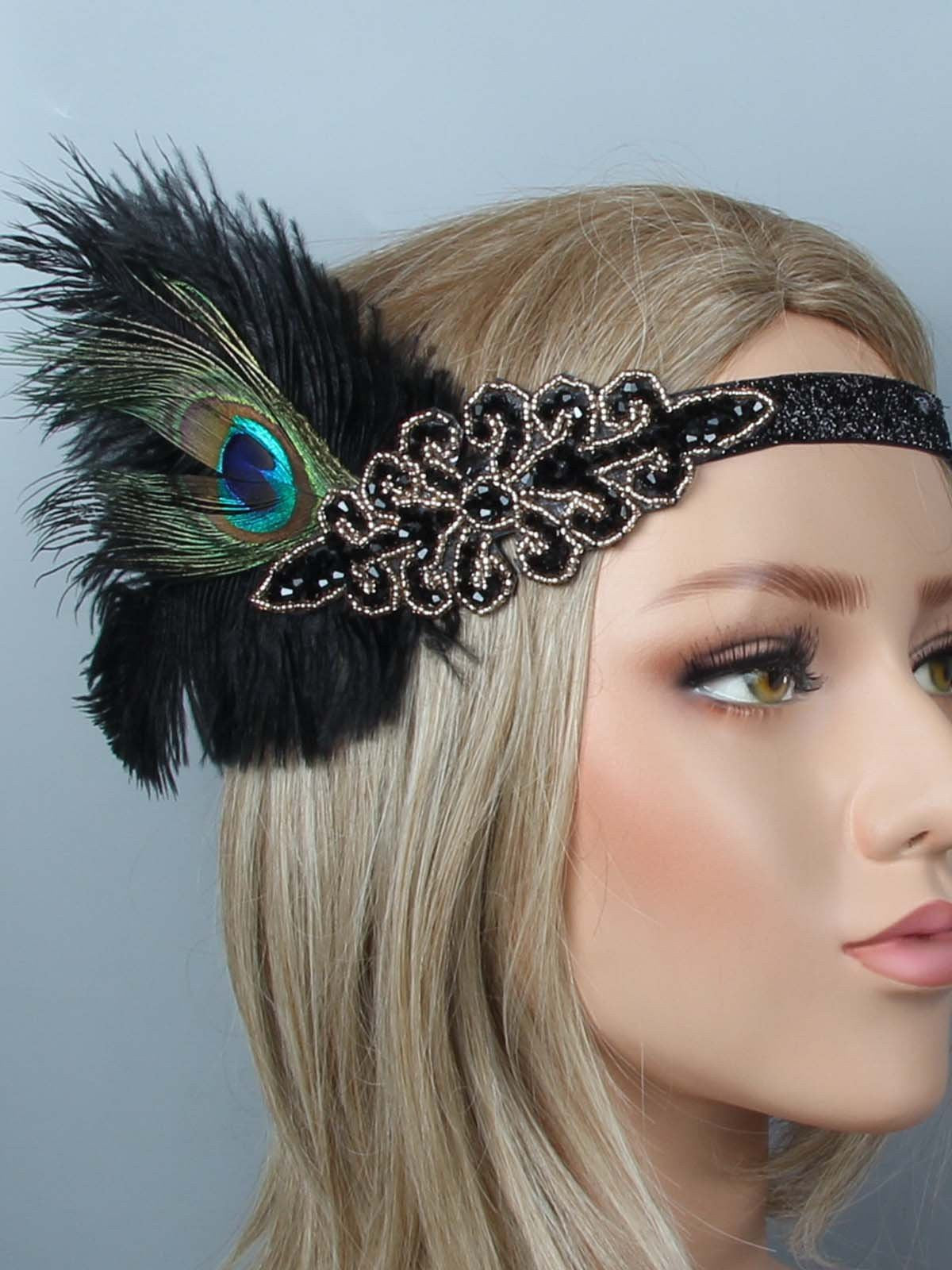 1920s Feather Flapper Headband Headpiece Retro Stage