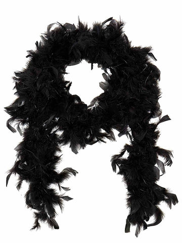 Black 1920s Feather Boa Costume Accessory