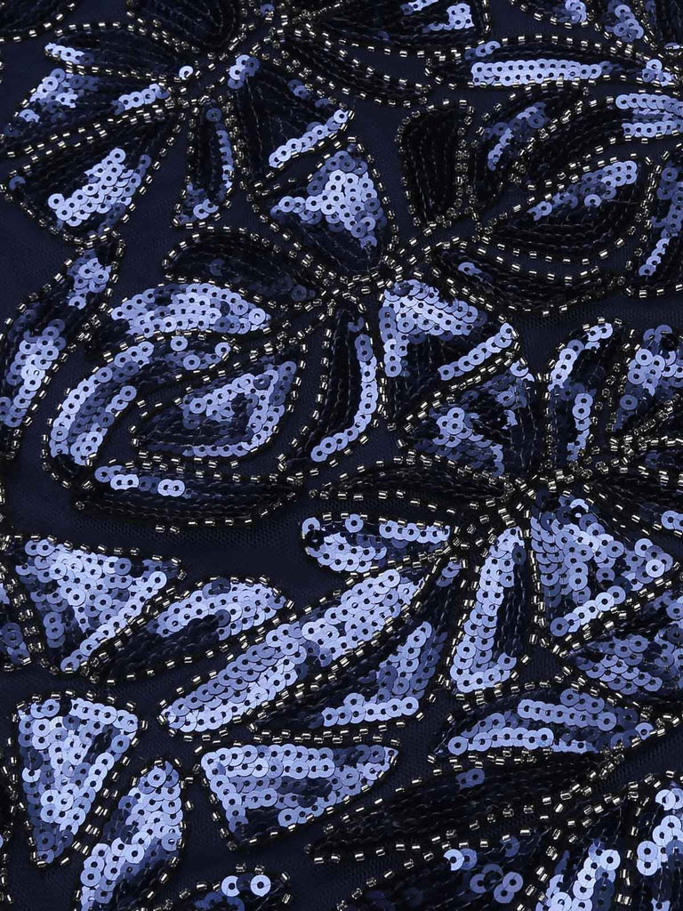 US Only Blue 1920s Sequin Maxi Dress