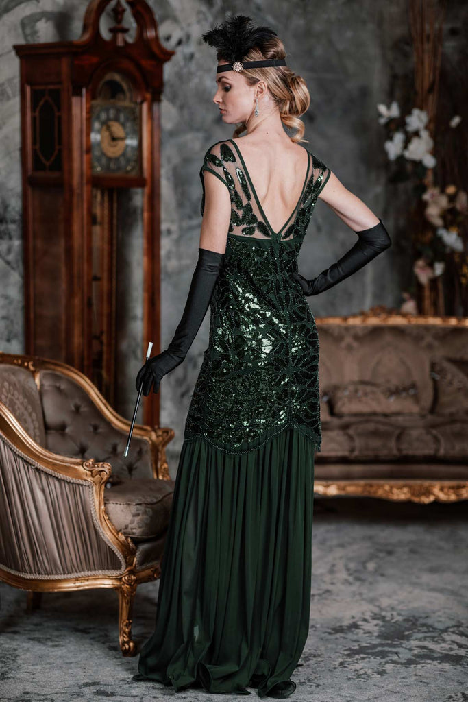 US Only Green 1920s Sequin Maxi Flapper Dress