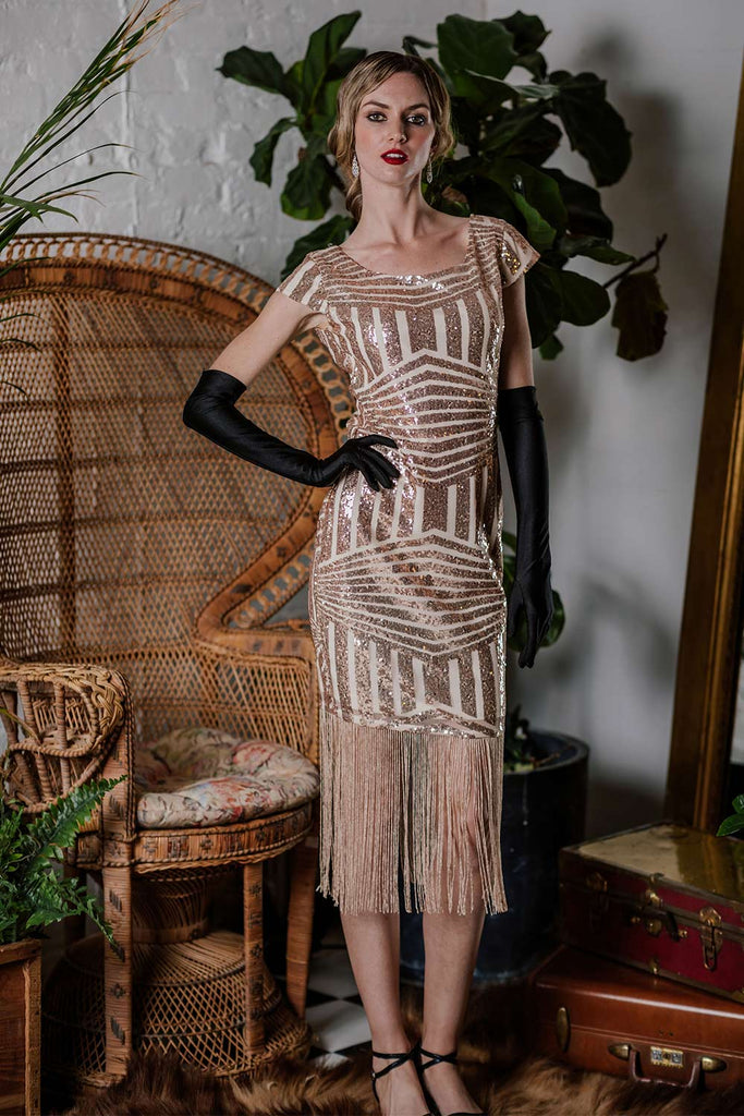 US Only Pink 1920s Sequin Fringed Dress