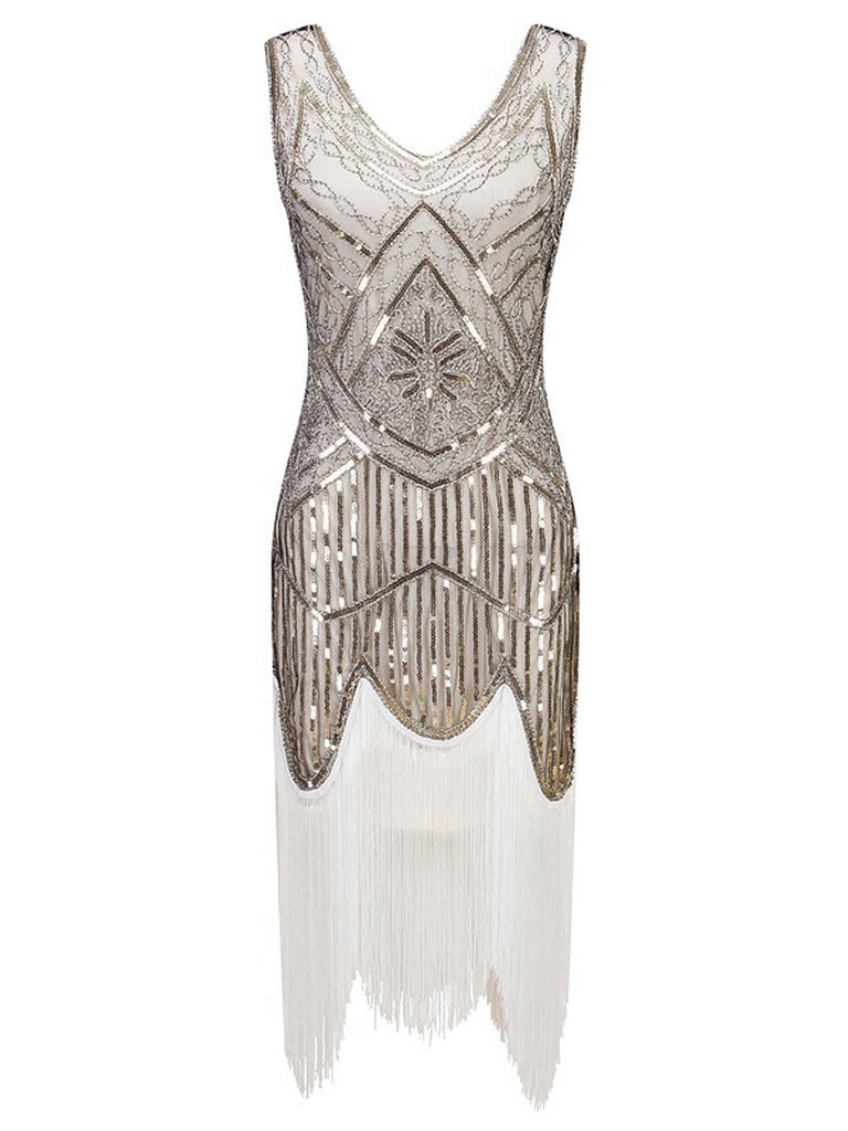 White 1920s Fringed Flapper Dress