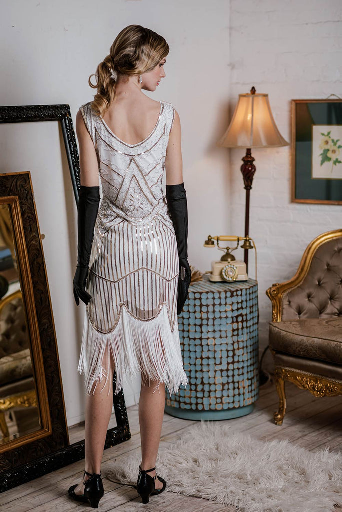 US Only White 1920s Fringed Flapper Dress