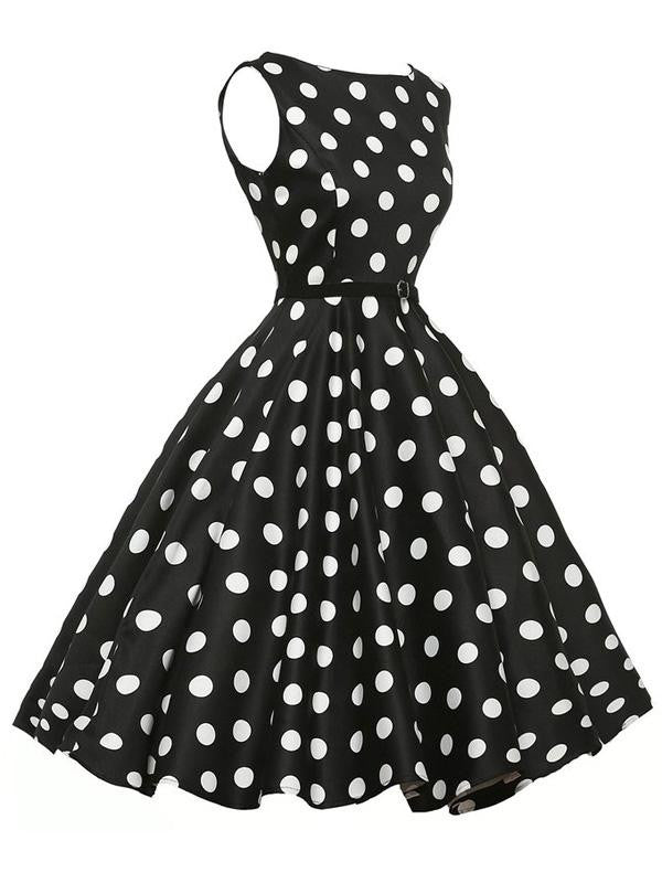 Black 1950s Polka Dot Belted Dress