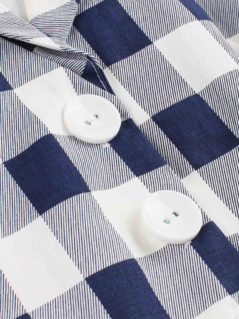 Blue White 1950s Pockets Plaid Dress
