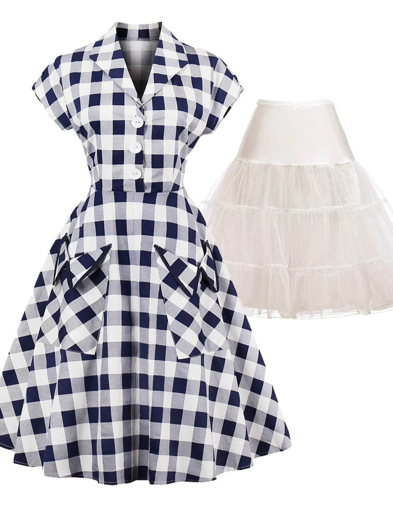 2PCS Pockets Plaid 1950s Dress & White Petticoat