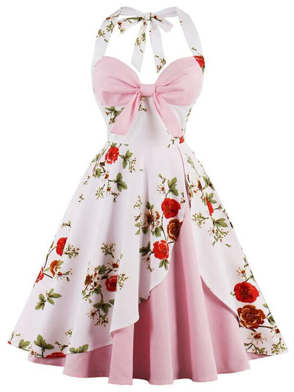 Pink 1950s Halter Floral Swing Dress