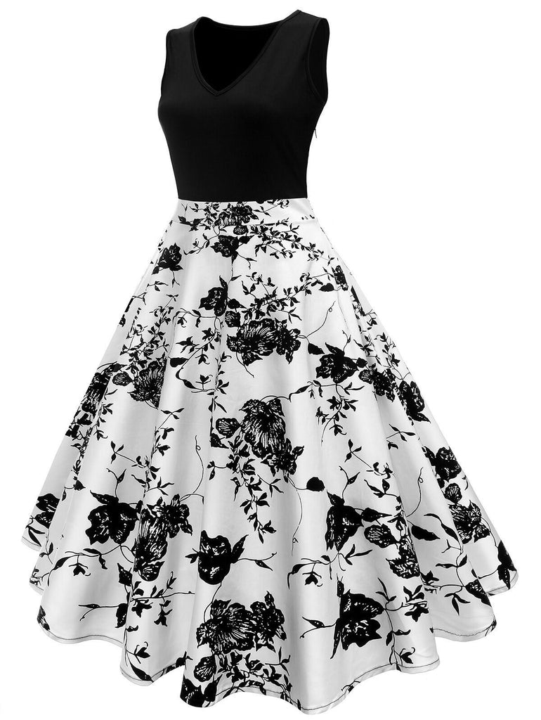 1950s Floral Swing Dress