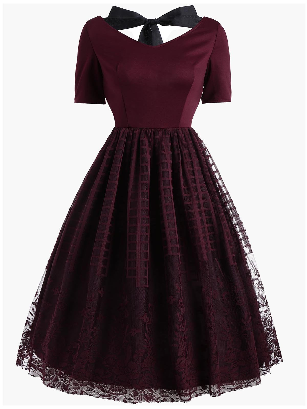 vintage style red dresses wine red 1950s back lace up dress retro stage chic 8813