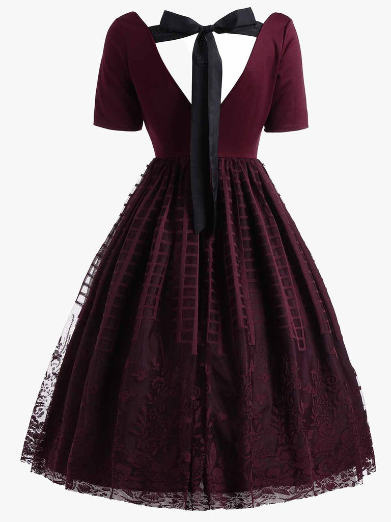 US Only Plus Size Wine Red 1950s Lace Dress