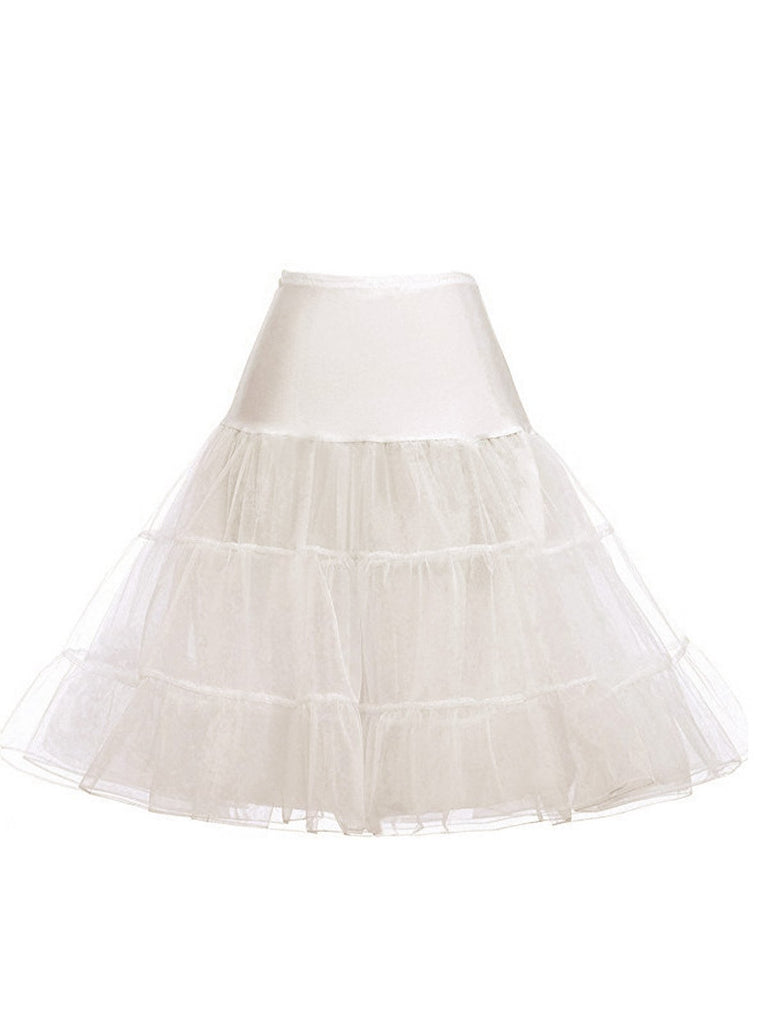 2PCS 1950s Cold Shoulder Dress & White Petticoat