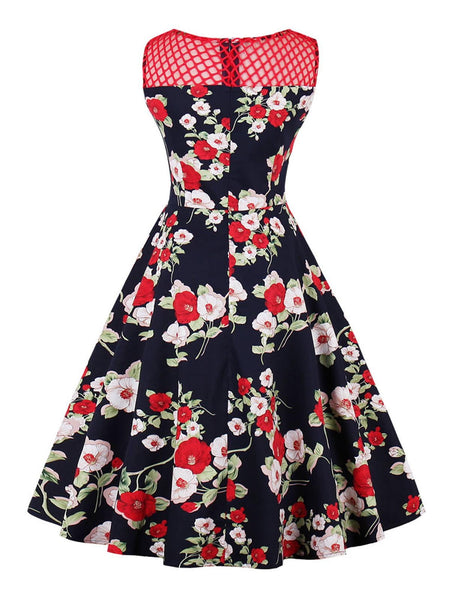 Red 1950s Floral Print Sleeveless Dress Retro Stage