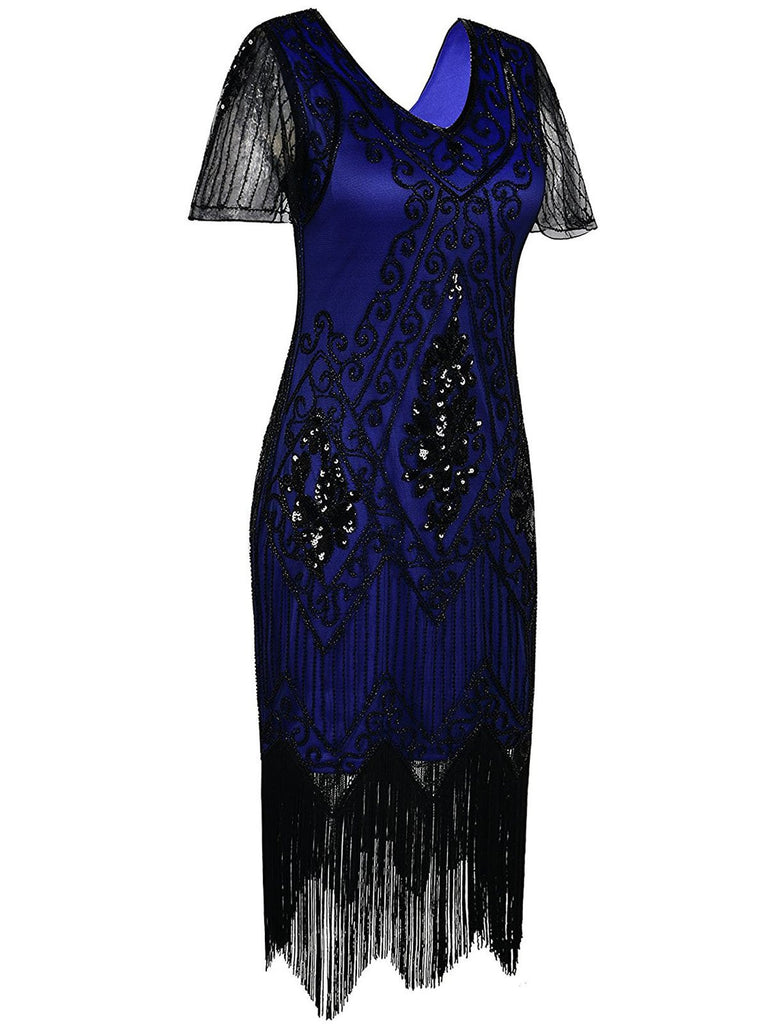 US Only Blue 1920s Sequin Art Deco Flapper Dress