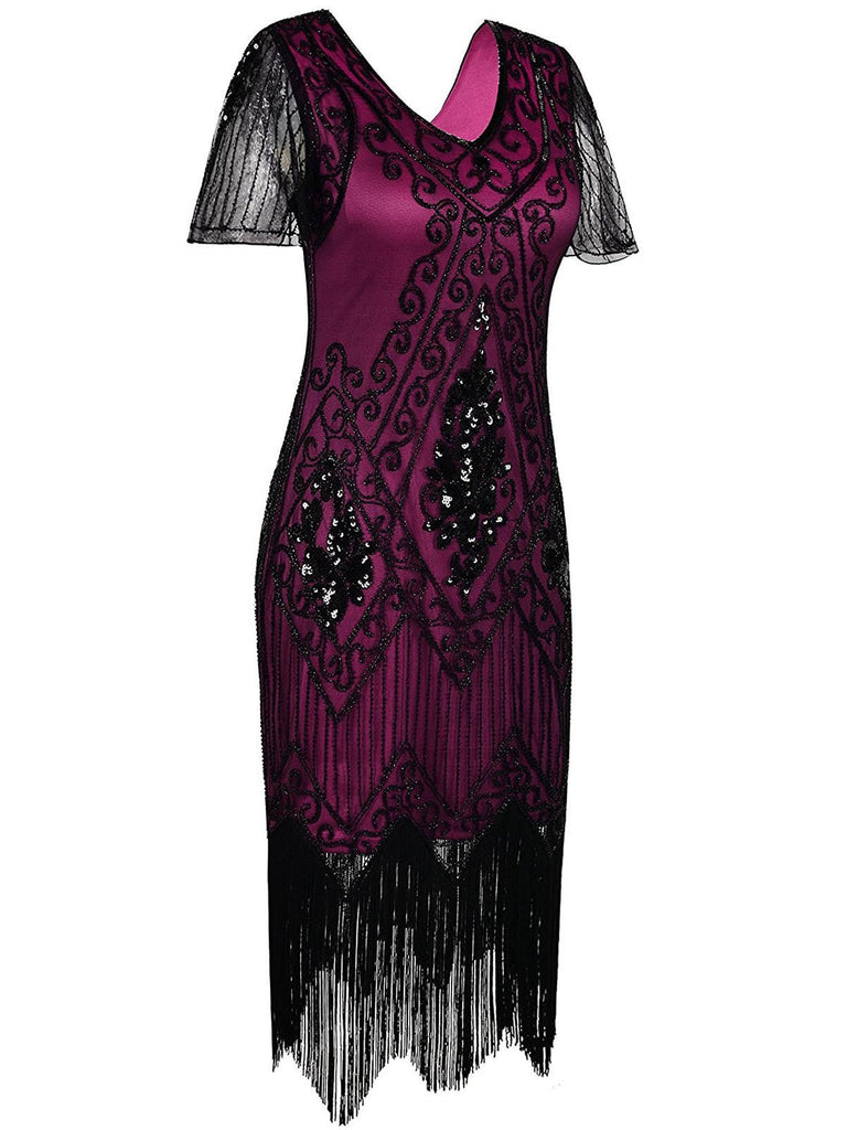 1920s Sequin Art Deco Flapper Dress