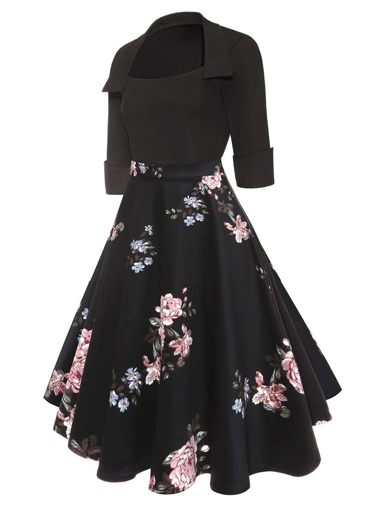 1950s Floral Patchwork Dress