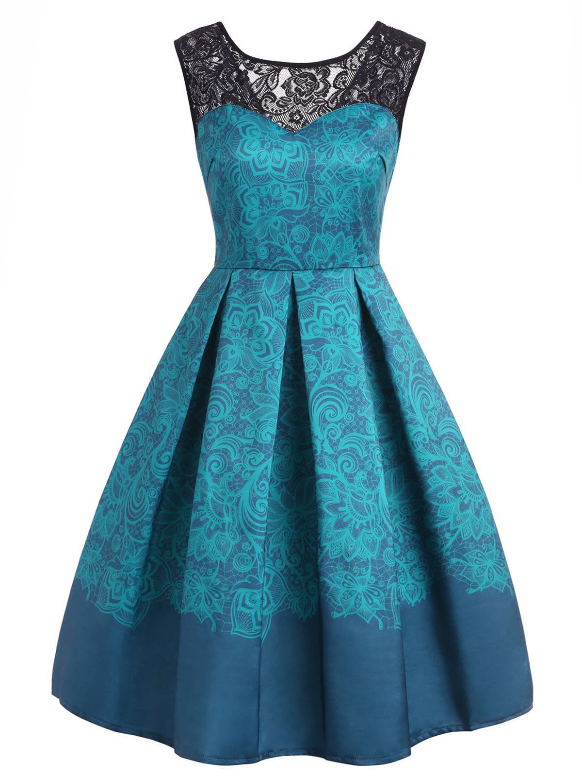 1950s Lace Floral Print Swing Dress – Retro Stage - Chic ...