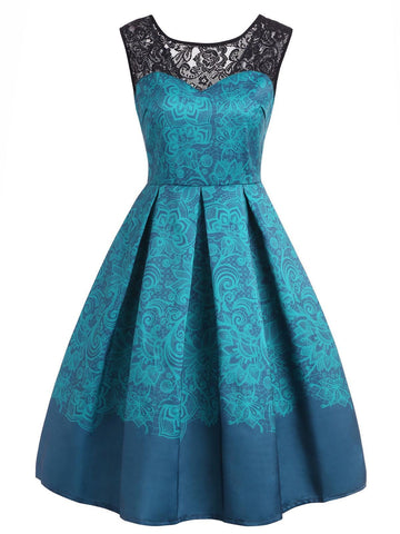 1950s Lace Floral Print Swing Dress
