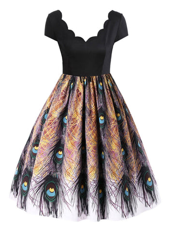 Black 1950s Peacock Feather Print Dress