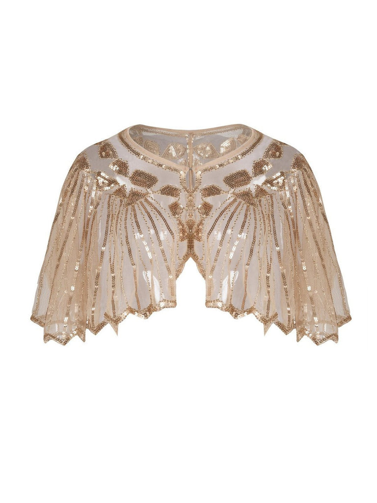 Apricot 1920s Shawl Beaded Sequin Cape