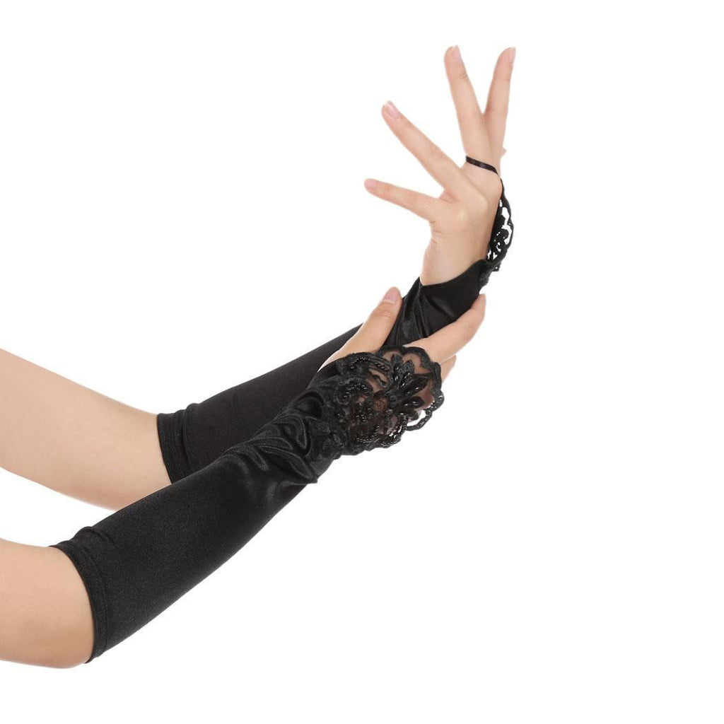 US Only Black 1920s  Fingerless Lace Gloves