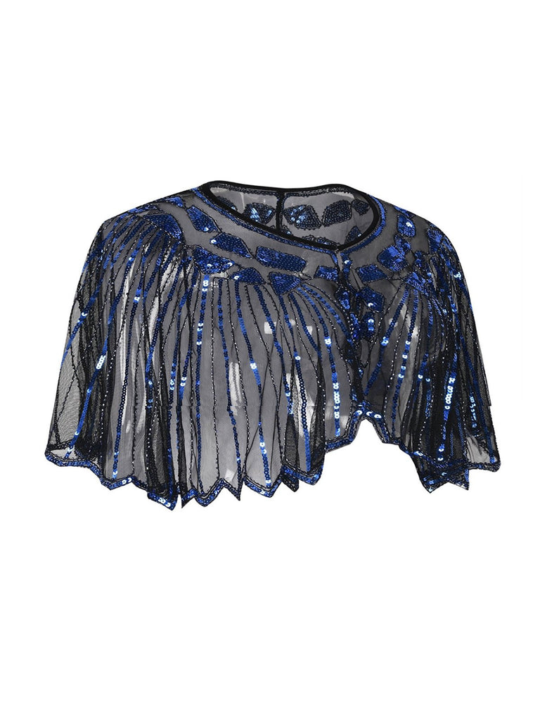 US Only Blue 1920s Shawl Beaded Sequin Flapper Cape