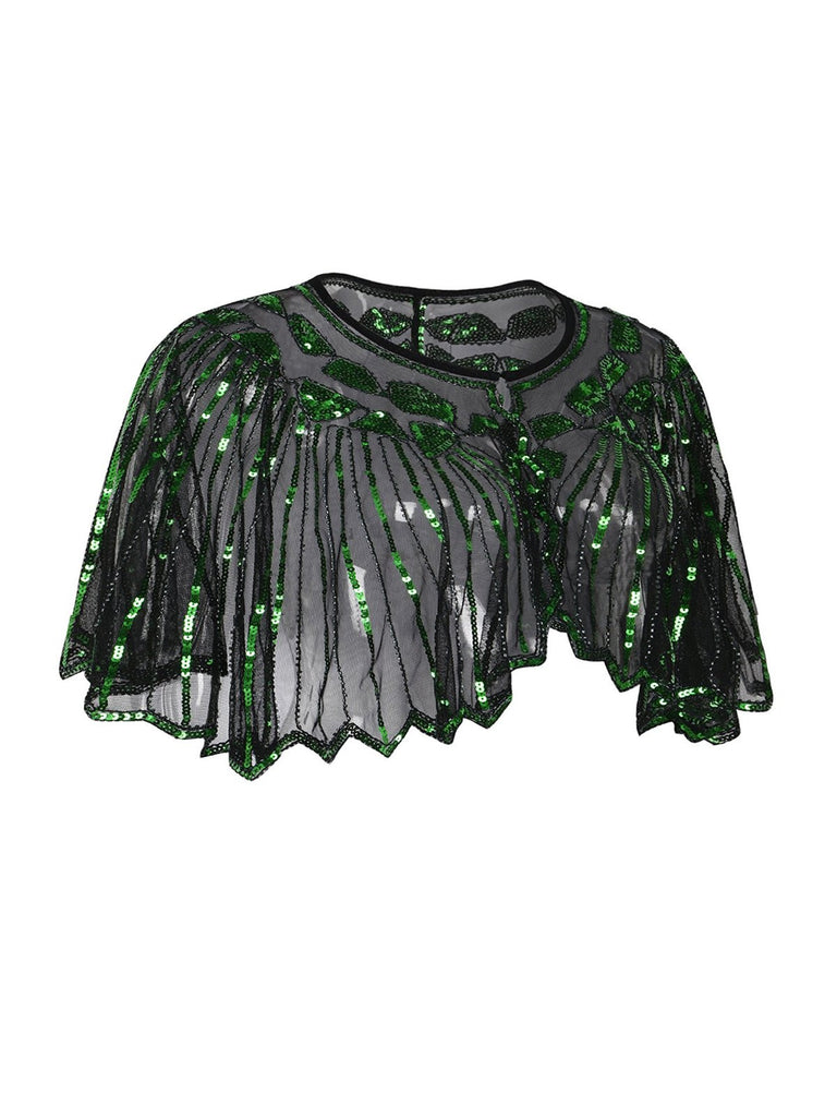 US Only Green 1920s Shawl Beaded Sequin Flapper Cape