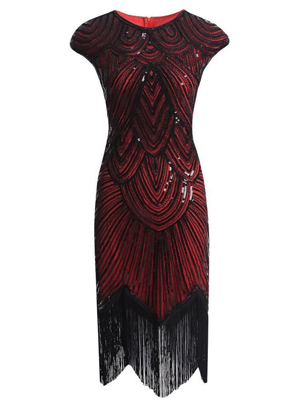 US Only Red 1920s Sequin Beaded Fringed Dress