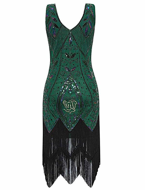 Green 1920s Sequined Fringe Dress